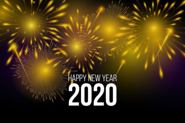 花火新年2020年背景 無料ベクター