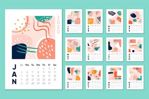 Ежемесячный календарь календаря 2020 Бесплатные векторы