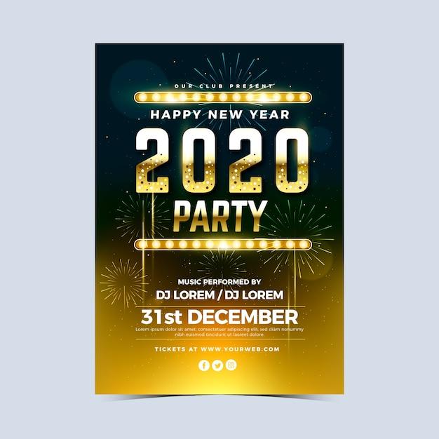 Реалистичные шаблон плаката вечеринка новый год 2020 Бесплатные векторы