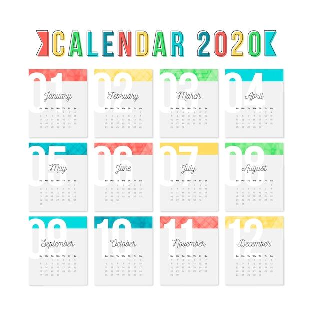 Красочный шаблон календаря на 2020 год Бесплатные векторы