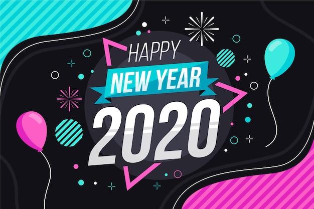 フラットなデザインの新年2020年の背景 無料ベクター
