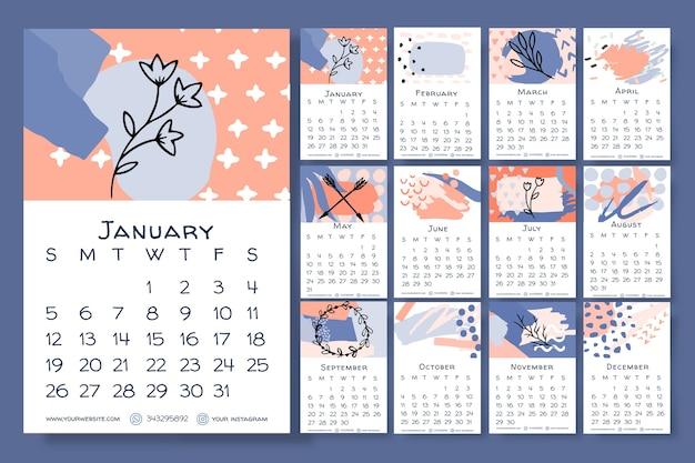 Ручной обращается цветочный календарь 2020 шаблон Бесплатные векторы