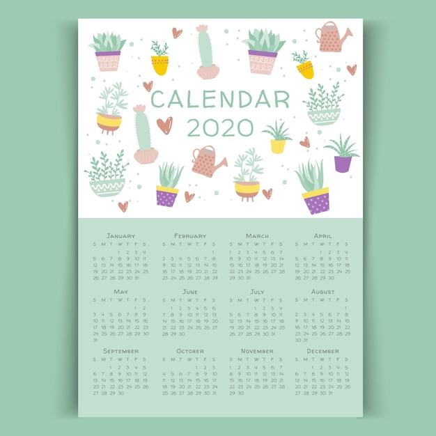 サボテン花カレンダー2020テンプレート 無料ベクター