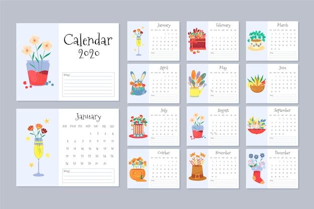 花カレンダー2020テンプレートセット 無料ベクター