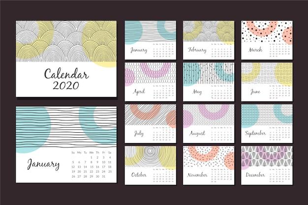 抽象的な手描きカレンダー2020テンプレートセット 無料ベクター