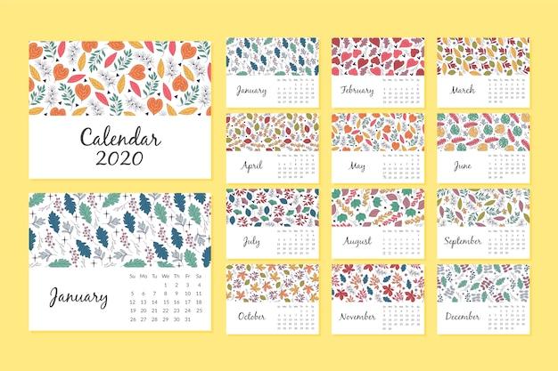 花柄カレンダー2020テンプレート 無料ベクター
