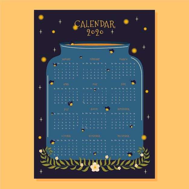 ホタルとフラットなデザインカレンダー2020テンプレート 無料ベクター
