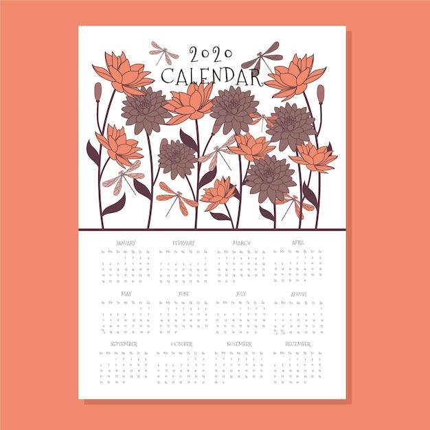 Шаблон цветочный календарь 2020 Бесплатные векторы