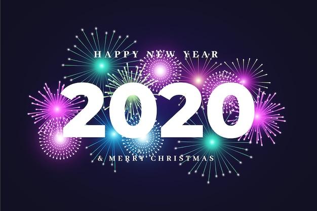 Фейерверк новый год 2020 фон Бесплатные векторы
