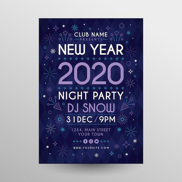 Шаблон плаката для вечеринки новый год 2020 в плоском дизайне Бесплатные векторы