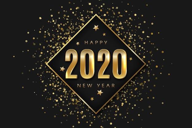 黄金の新年2020年背景コンセプト 無料ベクター