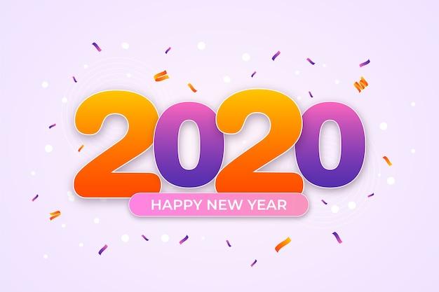 紙吹雪新年2020年背景コンセプト 無料ベクター