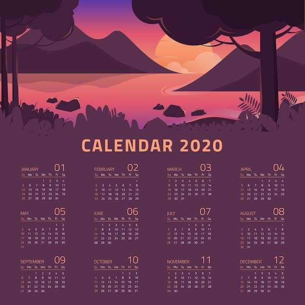 美しい風景とカラフルな2020年カレンダーテンプレート 無料ベクター