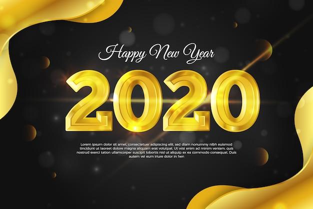 ゴールデン新年2020年の背景 無料ベクター