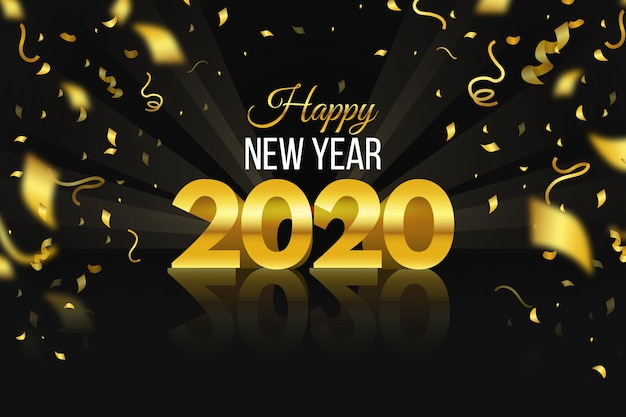 紙吹雪新年2020年背景 無料ベクター