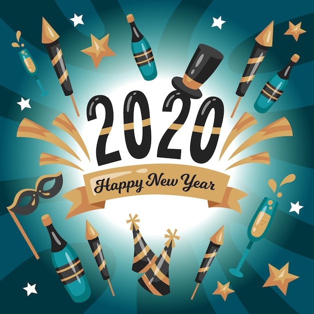 フラットデザイン新年2020年背景コンセプト 無料ベクター