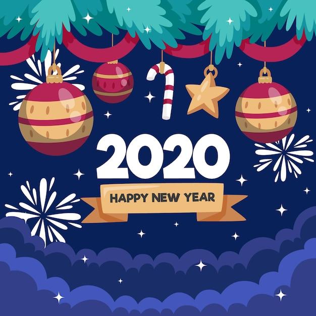 Плоский дизайн новый год 2020 фон концепция Бесплатные векторы
