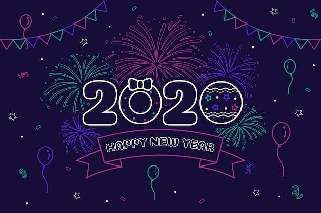 Новый год 2020 фон в стиле структуры Бесплатные векторы
