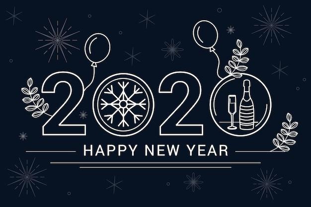 2020 стиль контура фона с воздушными шарами Бесплатные векторы