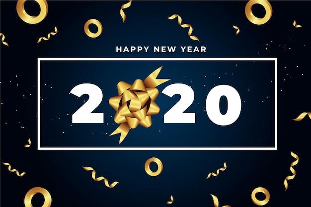 Реалистичная новогодняя открытка 2020 года с золотым подарочным бантом Бесплатные векторы