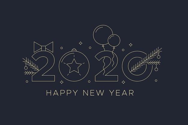 Новый год 2020 с фоном воздушных шаров в стиле структуры Бесплатные векторы