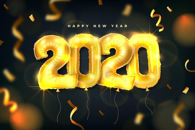 現実的な新年2020年風船背景 無料ベクター