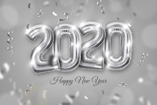 Реалистичные новогодние шары фон 2020 Бесплатные векторы