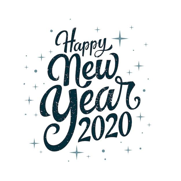 ビンテージレタリング新年あけましておめでとうございます2020 無料ベクター