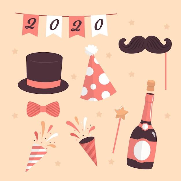 Шампанское и праздничные колпаки на новый год 2020 Бесплатные векторы