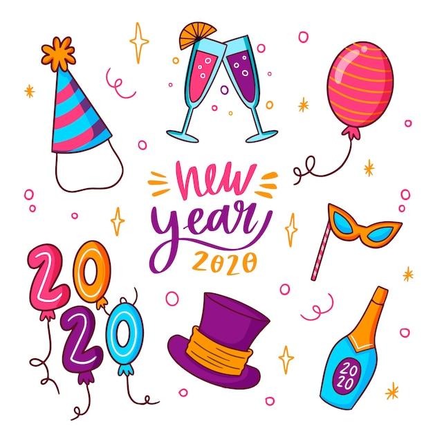 Украшение и шампанское новогодняя вечеринка 2020 Бесплатные векторы