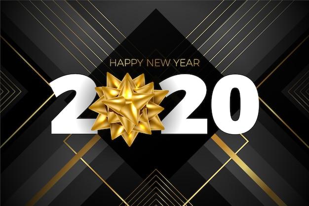 黄金の弓とエレガントな暗い新年2020 無料ベクター