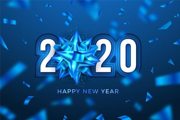 Лед новогодний 2020 фон с бантиком снежинка Бесплатные векторы