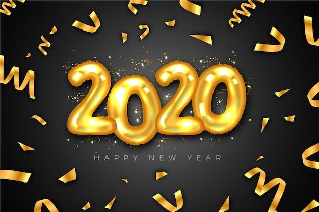 金色の紙吹雪と風船新年2020 無料ベクター