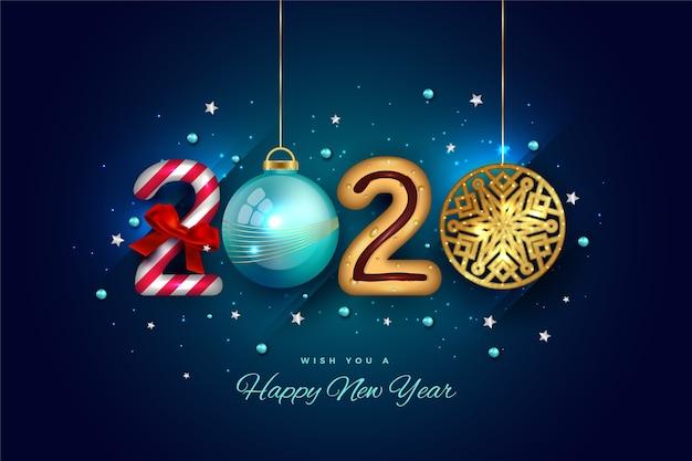 Разнообразие подвесных элементов для новогоднего текста 2020 Бесплатные векторы