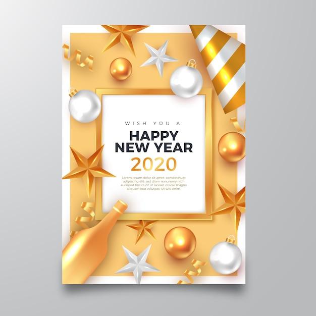 Плакат с новым годом 2020 с реалистичными золотыми украшениями Бесплатные векторы