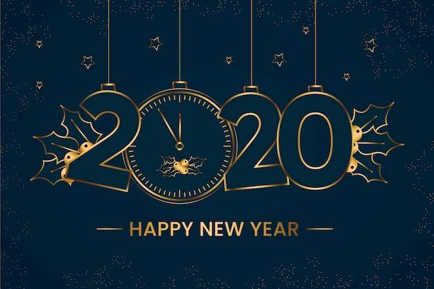 アウトラインスタイルデザインの新年2020年背景 無料ベクター