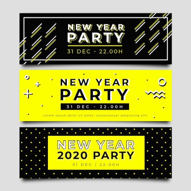 Ручной обращается новогодние баннеры 2020 года Бесплатные векторы