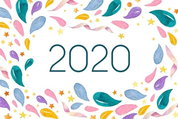 Акварель новый год 2020 фон Бесплатные векторы