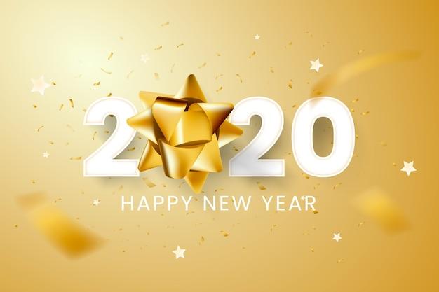 ゴールデンギフト弓と現実的な新年2020年背景 無料ベクター