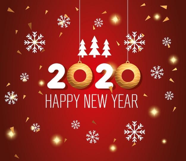 Знамя с новым годом 2020 с украшением Бесплатные векторы