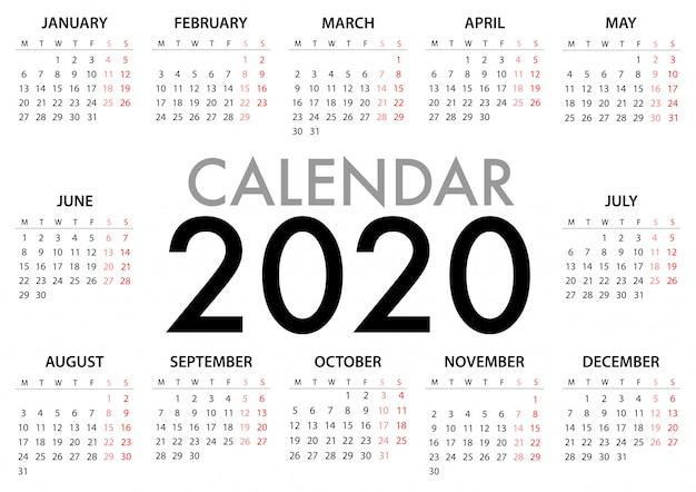 Календарь недели 2020 года начинается с понедельника. простой дизайн шаблона Premium векторы