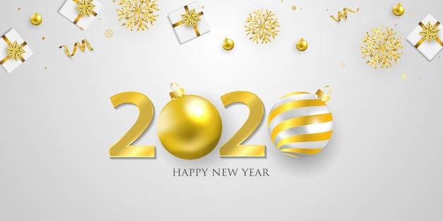 С новым годом 2020 фон. шаблон поздравительной открытки золотого конфетти. праздновать брошюру или флаер. Premium векторы