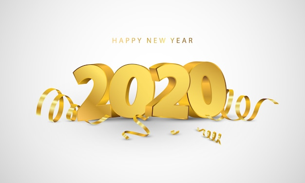 Счастливый новый год 2020. приветствие дизайн карты с золотым конфетти. Premium векторы