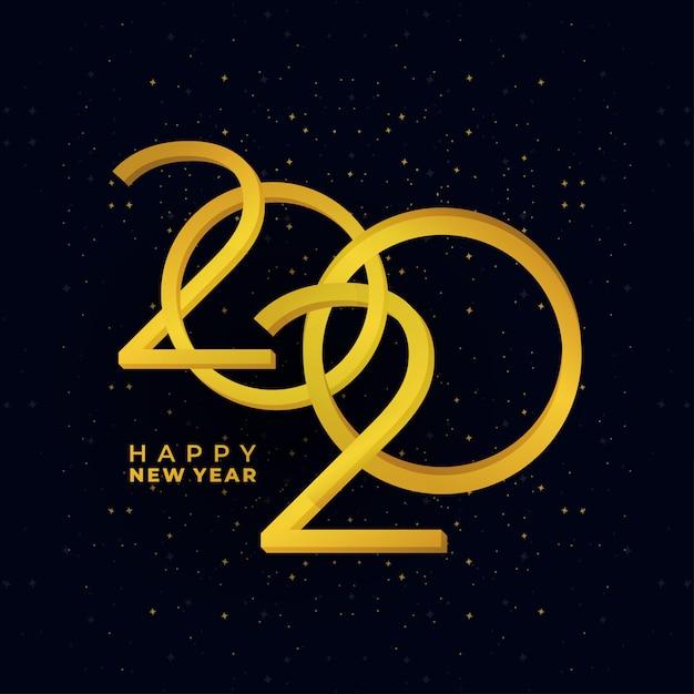 黄金の幸せな新年2020年休日バナー Premiumベクター