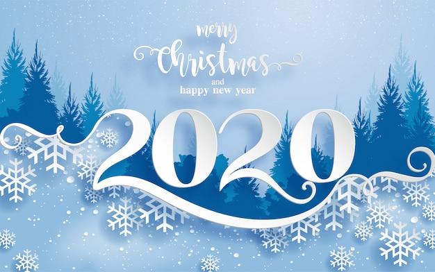 Поздравления с рождеством и новым годом 2020 с красивой зимой и снегопадом рисунком бумаги вырезать искусства. Premium векторы