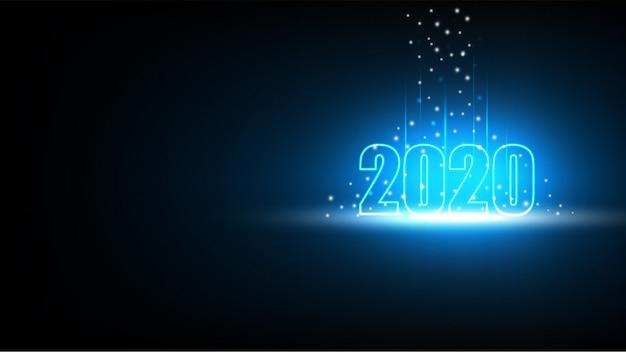 技術の抽象的な未来的な背景を持つ新年あけましておめでとうございます2020 Premiumベクター