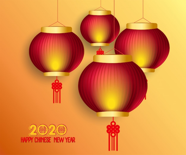 Счастливый китайский новый год 2020 фон с фонарями и световым эффектом Premium векторы