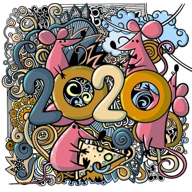 Концепция изображение символа китайского счастливого нового года 2020 Premium векторы