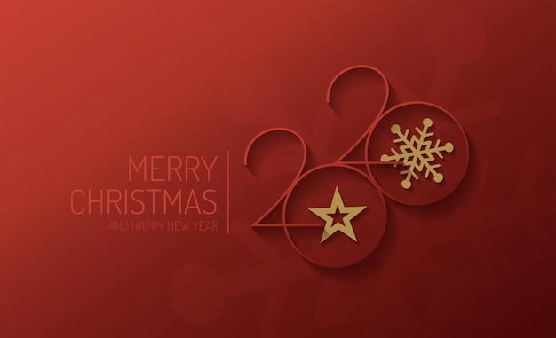 メリークリスマスと新年あけましておめでとうございます2020ベクターデザイン Premiumベクター