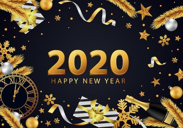 金で美しく装飾された新年あけましておめでとうございます2020背景 Premiumベクター